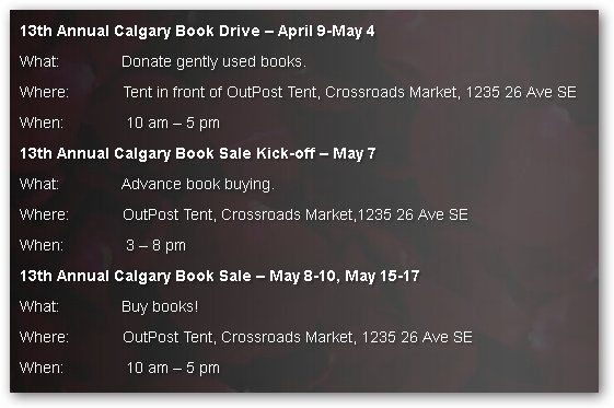SAS Crossroads 2015 Book Sale details - sshot fr website