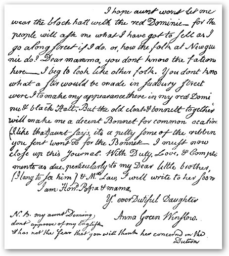 Anna Green Winslow's diary entry in handwriting