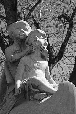 Statue of Wynken, Blynken, and Nod in Washington Park, Denver, Colorado. Assumed to be by Matt Wright.